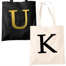 Single Letter Printed Tote Bag - Alphabet A-Z Initial Shopper Accessory Bags